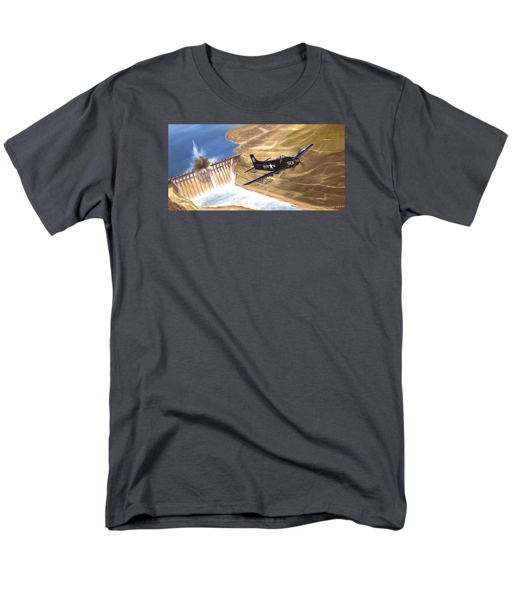 Military Men's T-Shirt (Regular Fit) featuring the painting Last of the Dambusters by Marc Stewart