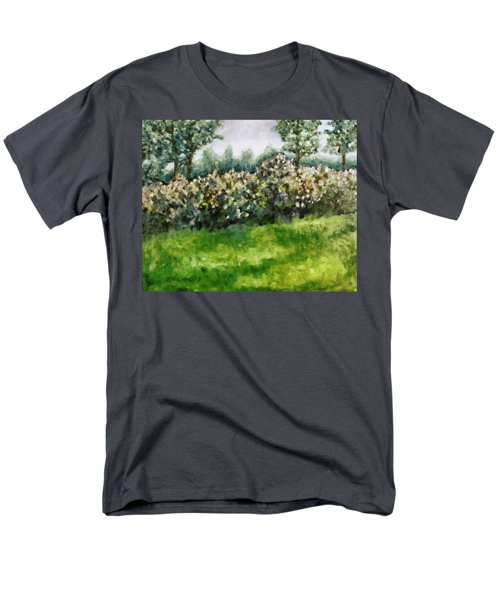 Spring Men's T-Shirt (Regular Fit) featuring the painting Lilac Bushes in Springtime by Michelle Calkins