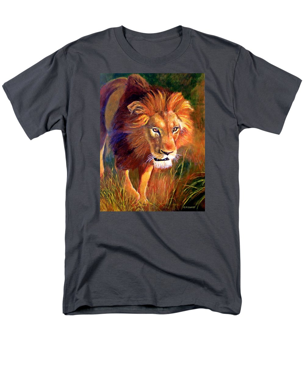 Lion Men's T-Shirt (Regular Fit) featuring the painting Lion at Sunset by Michael Durst