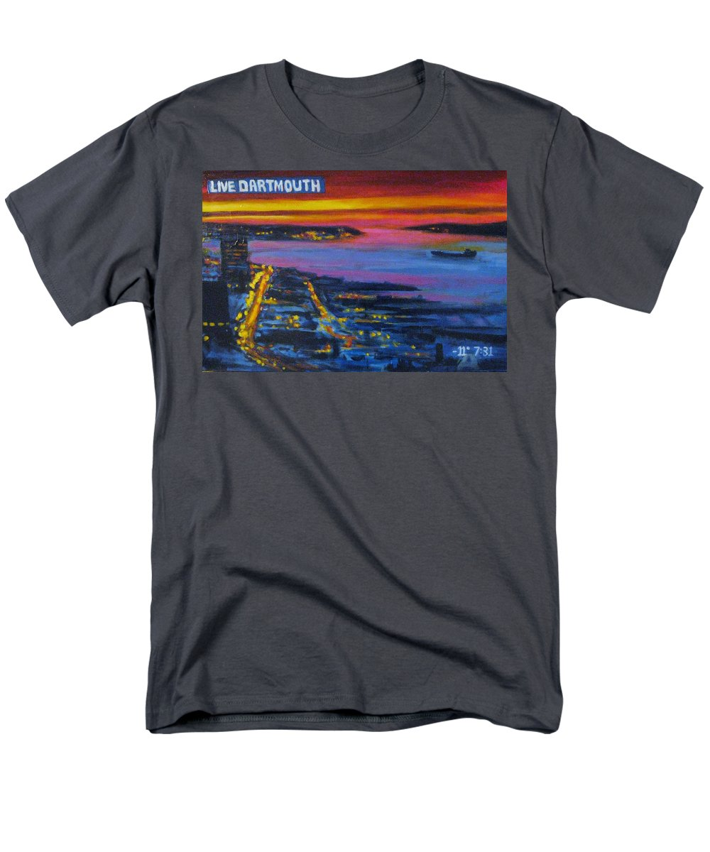 Night Scenes Men's T-Shirt (Regular Fit) featuring the painting Live Eye over Dartmouth NS by John Malone