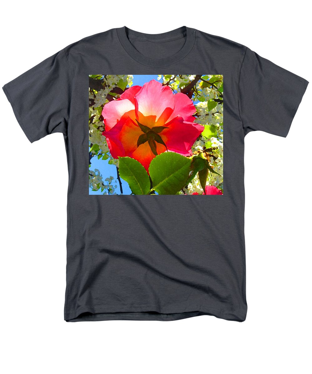 Roses Men's T-Shirt (Regular Fit) featuring the photograph Looking Up at Rose and Tree by Amy Vangsgard