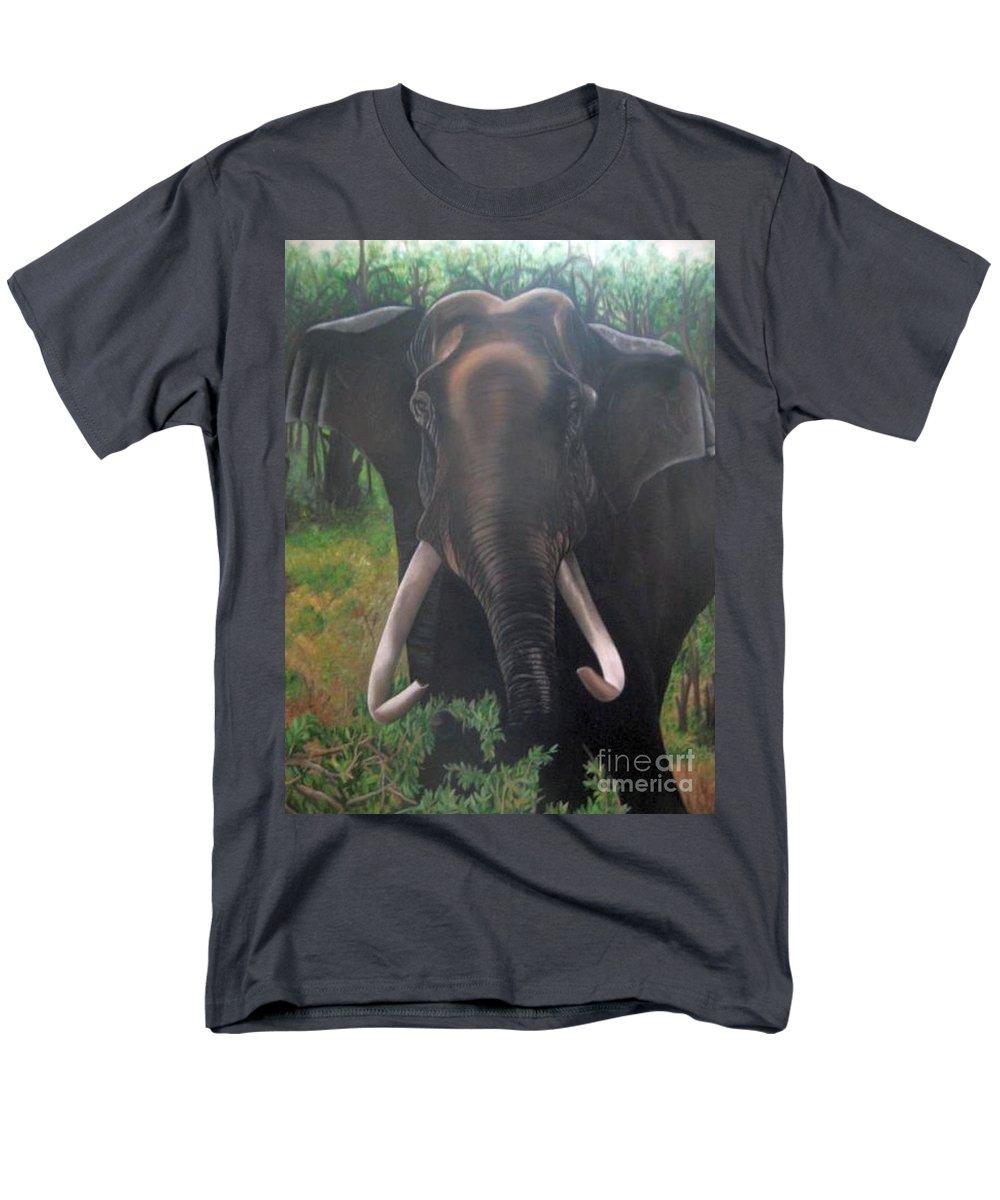 Elephant Men's T-Shirt (Regular Fit) featuring the painting Majestic by Usha Rai