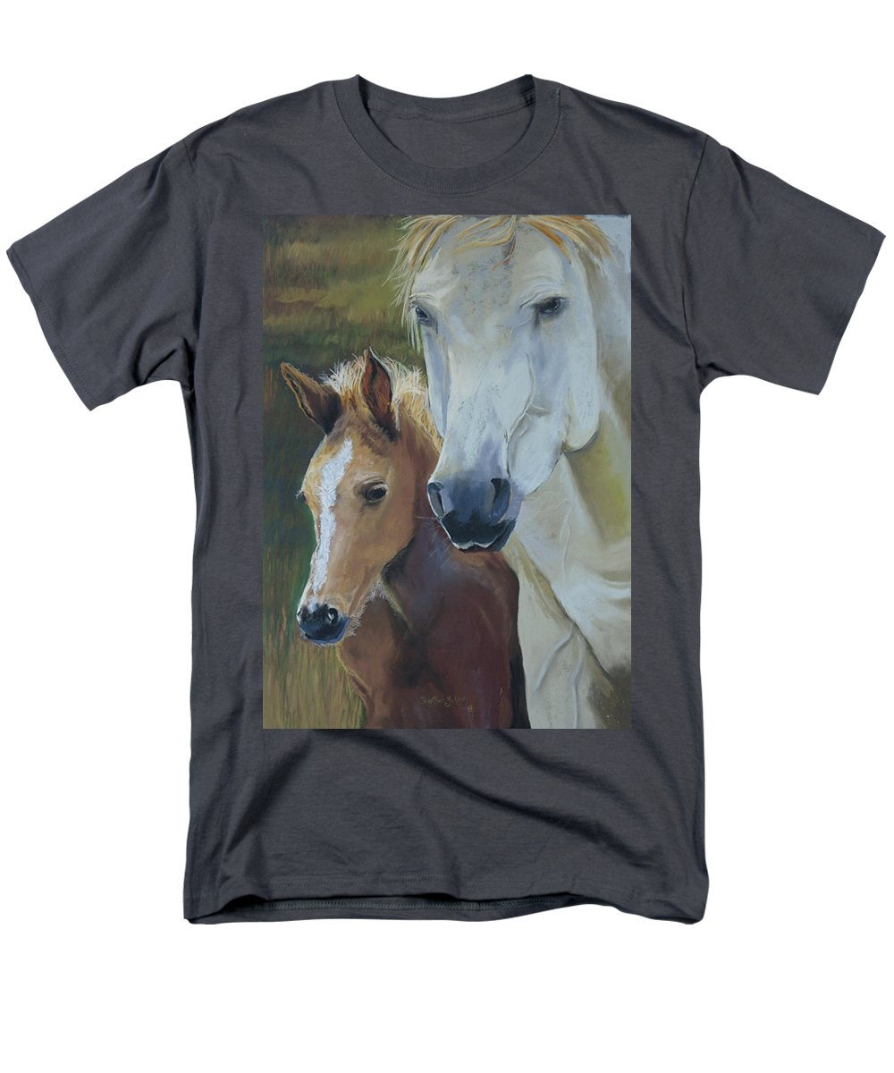 Horses Men's T-Shirt (Regular Fit) featuring the painting Mama's Boy by Heather Coen
