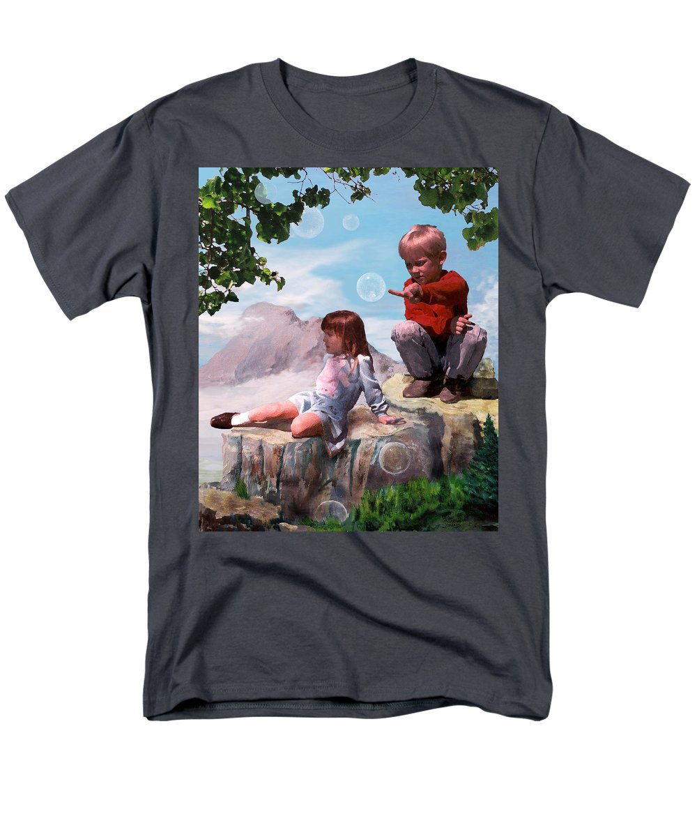 Landscape Men's T-Shirt (Regular Fit) featuring the painting Mount Innocence by Steve Karol