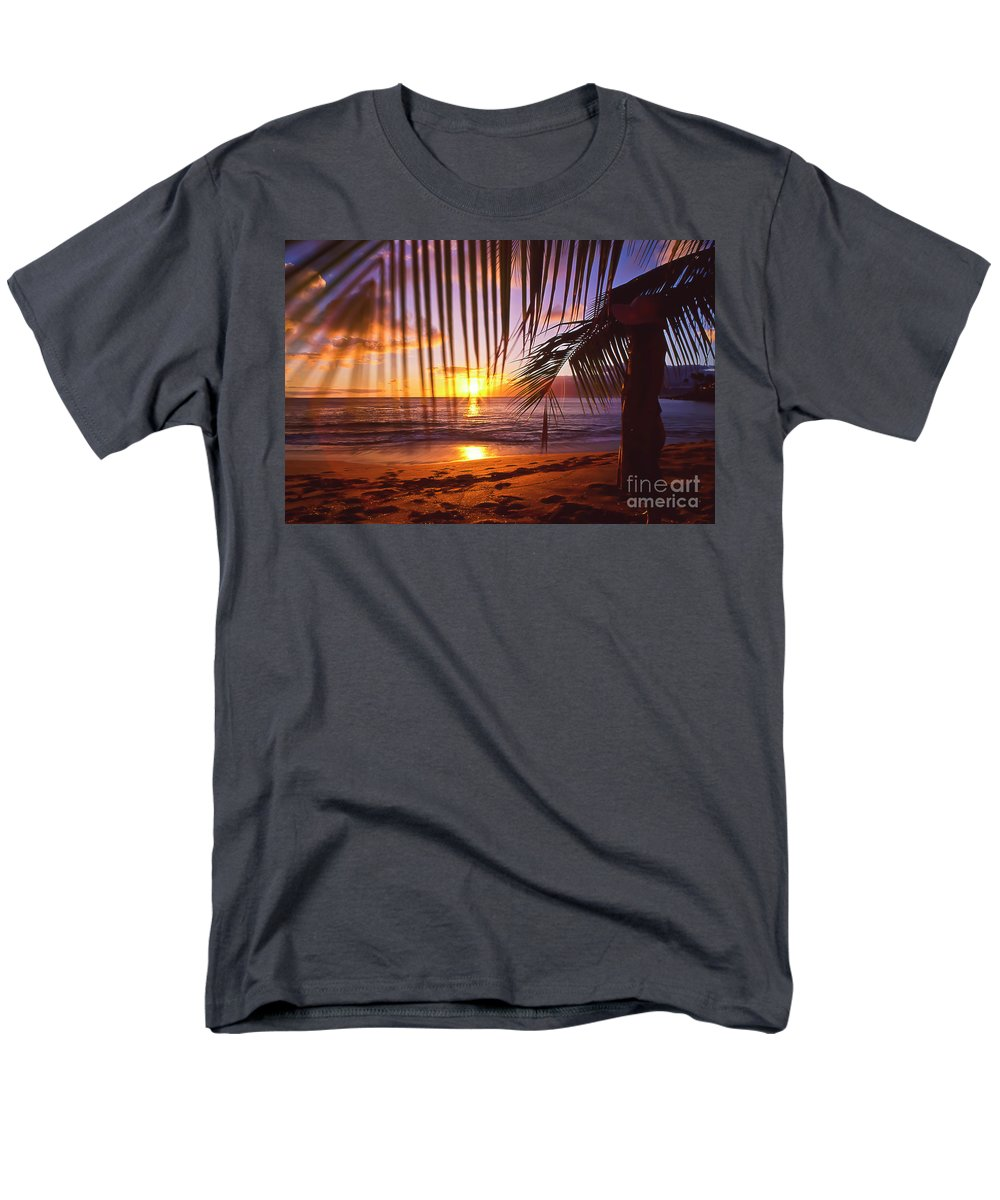 Sunset Men's T-Shirt (Regular Fit) featuring the photograph Napili Bay Sunset Maui Hawaii by Jim Cazel