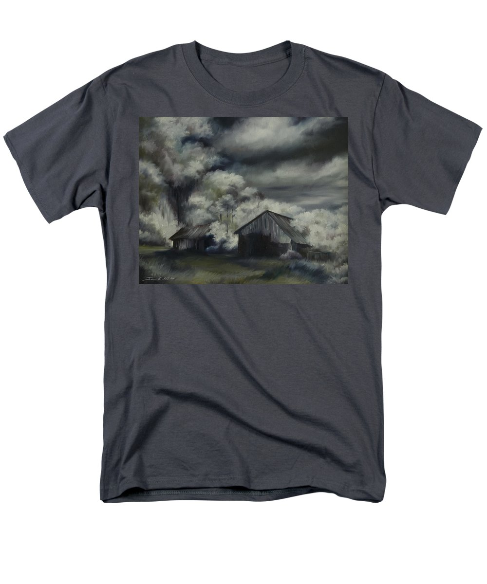 Motel; Route 66; Desert; Abandoned; Delapidated; Lost; Highway; Route 66; Road; Vacancy; Run-down; Building; Old Signage; Nastalgia; Vintage; James Christopher Hill; Jameshillgallery.com; Foliage; Sky; Realism; Oils; Barn Men's T-Shirt (Regular Fit) featuring the painting Night Barn by James Christopher Hill