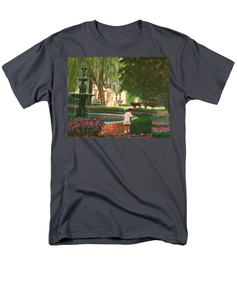 Savannah; Fountain; Child; House Men's T-Shirt (Regular Fit) featuring the painting Old And Young Of Savannah by Ben Kiger