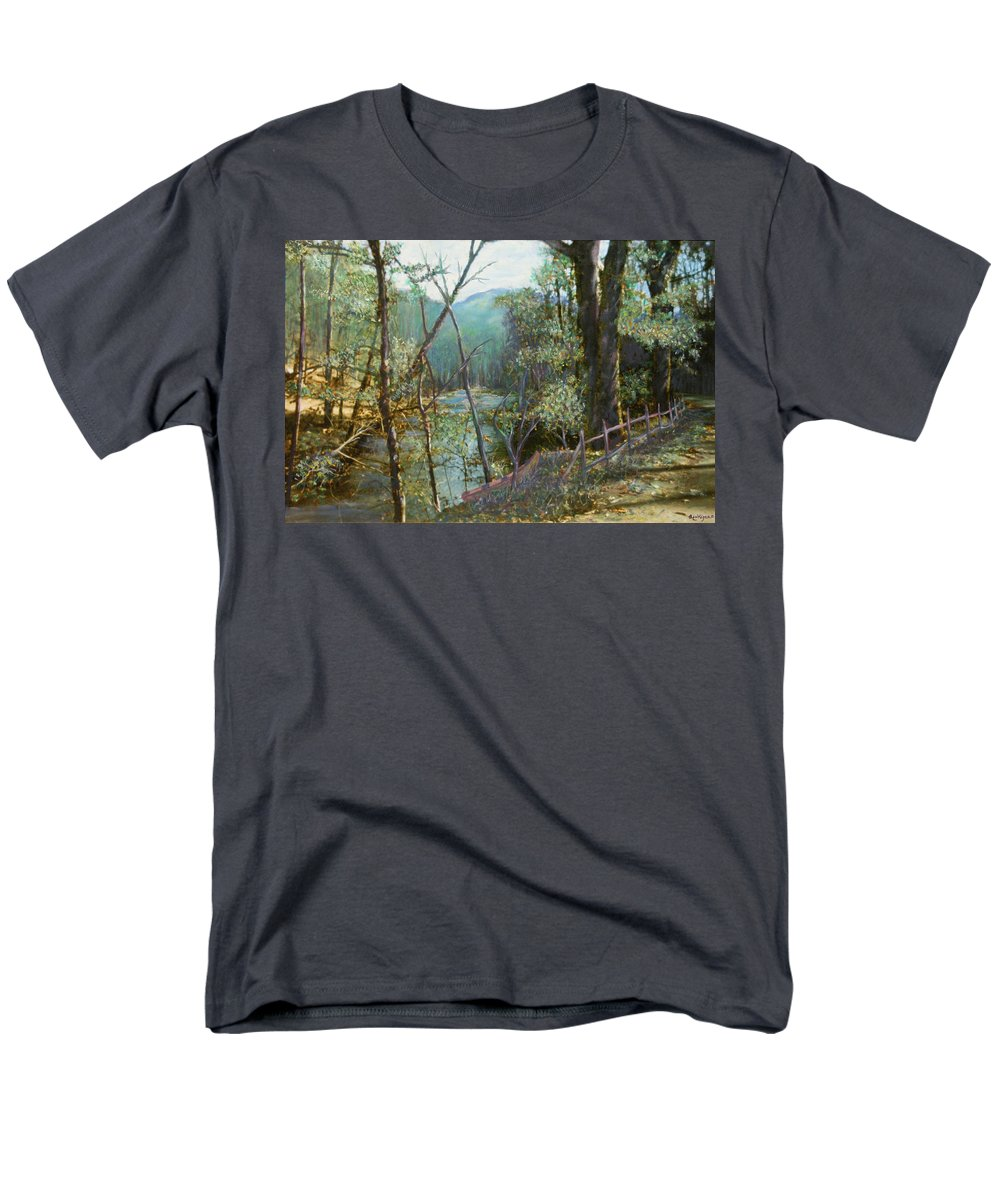 River; Trees; Landscape Men's T-Shirt (Regular Fit) featuring the painting Old Man River by Ben Kiger