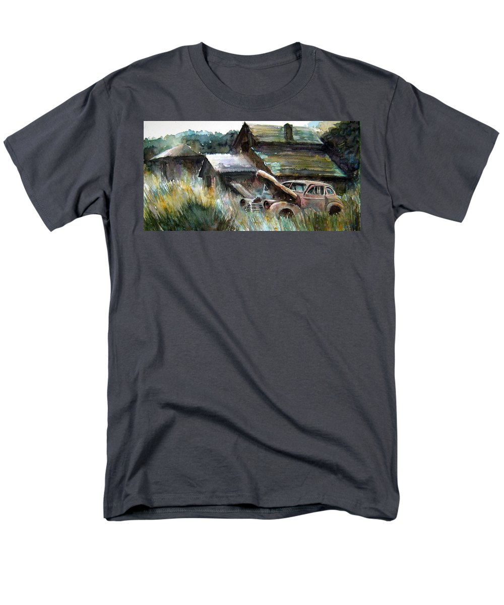 Car Barn Trees Men's T-Shirt (Regular Fit) featuring the painting On Borrowed Time by Ron Morrison