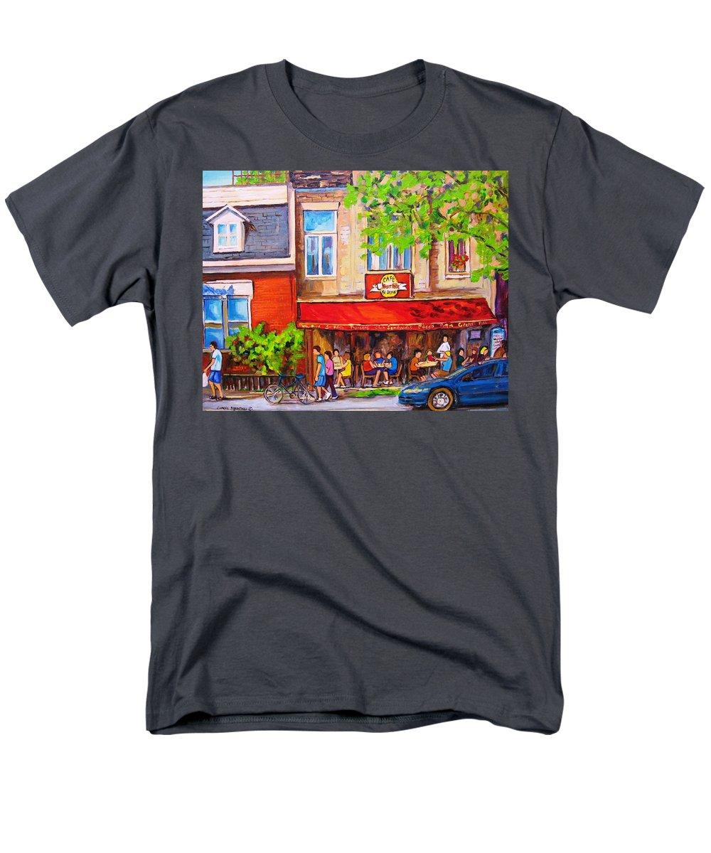 Montreal Men's T-Shirt (Regular Fit) featuring the painting Outdoor Cafe by Carole Spandau