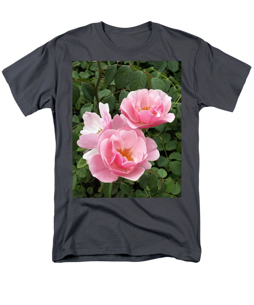 Roses Men's T-Shirt (Regular Fit) featuring the photograph Pink Roses 1 by Amy Fose