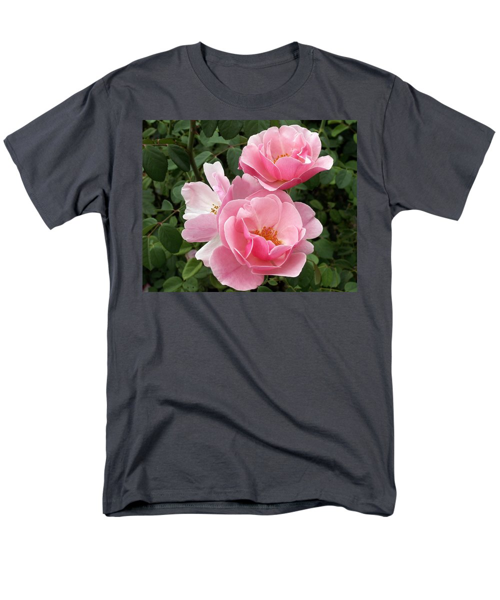 Pink Roses Men's T-Shirt (Regular Fit) featuring the photograph Pink Roses 2 by Amy Fose