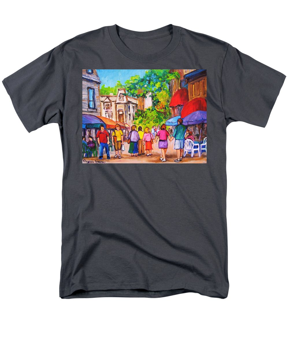Rue Prince Arthur Montreal Street Scenes Men's T-Shirt (Regular Fit) featuring the painting Prince Arthur Street Montreal by Carole Spandau