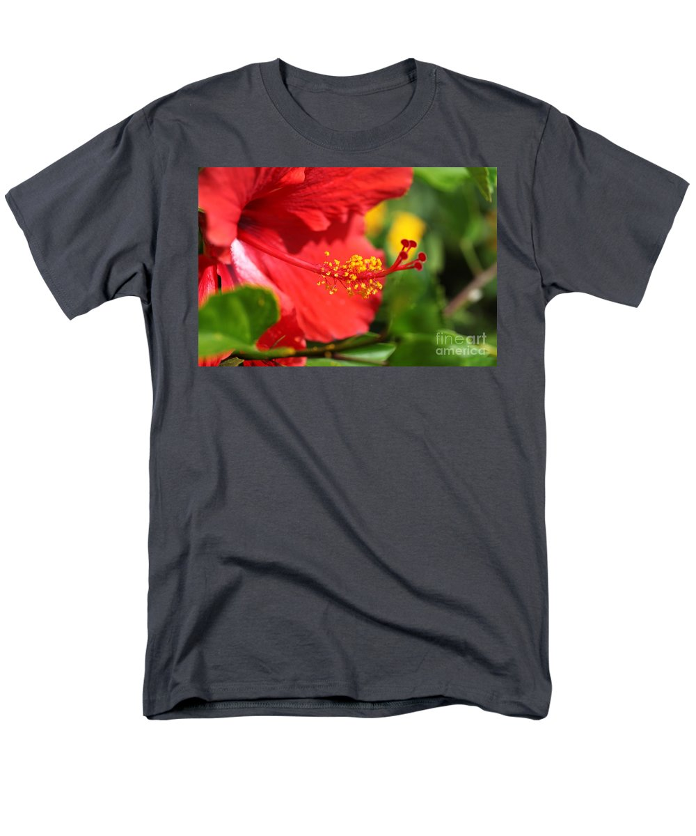 Flowers Men's T-Shirt (Regular Fit) featuring the photograph Red Hibiscus and Green by Nadine Rippelmeyer