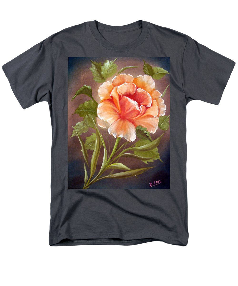 Rose Men's T-Shirt (Regular Fit) featuring the painting Rose Tropicana by David G Paul