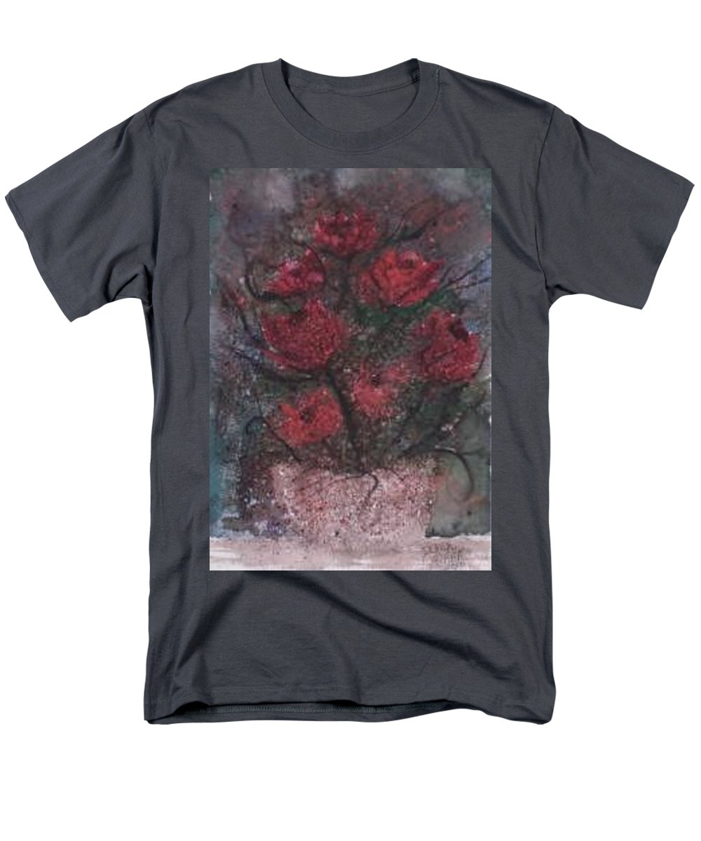 Watercolor Men's T-Shirt (Regular Fit) featuring the painting ROSES AT NIGHT gothic surreal modern painting poster print by Derek Mccrea