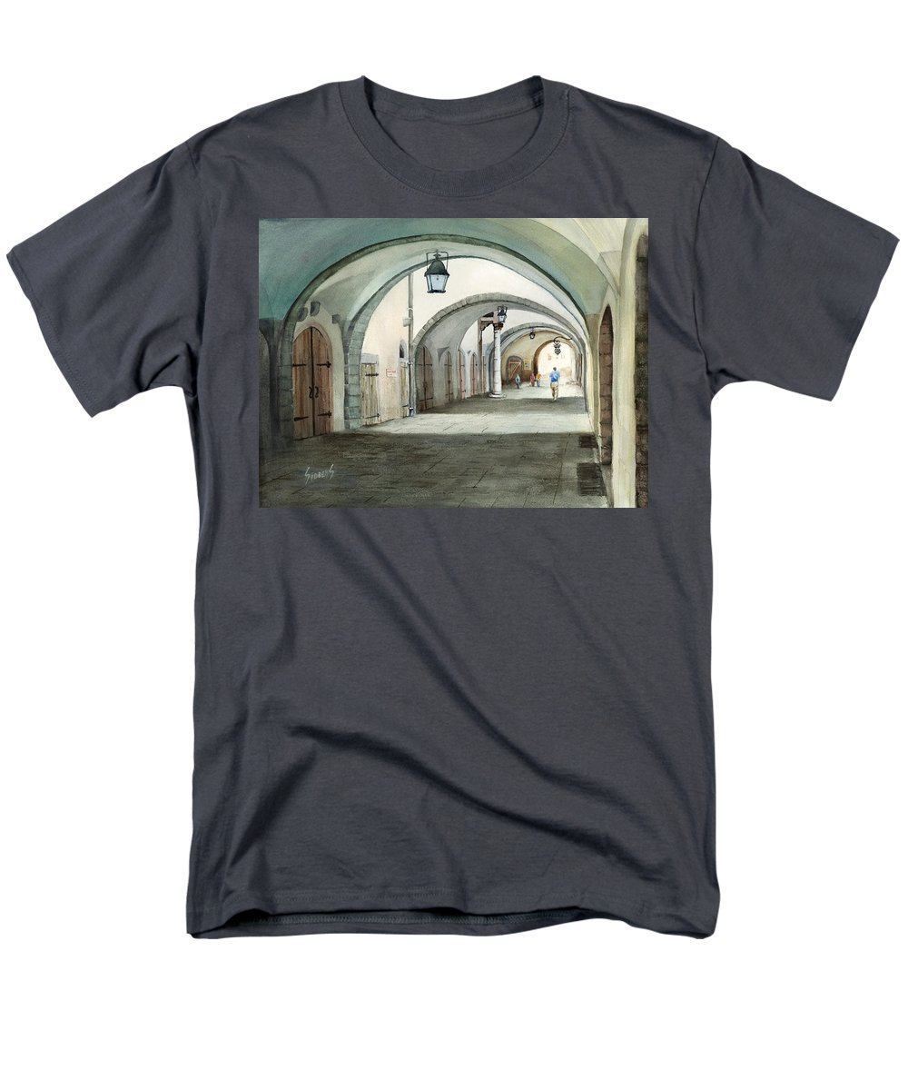 Germany Men's T-Shirt (Regular Fit) featuring the painting Rothenburg Backstreet by Sam Sidders