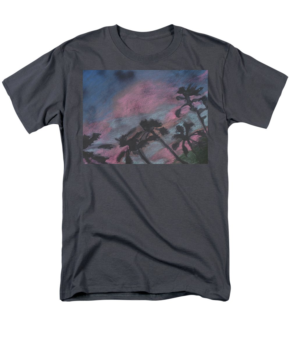 Contemporary Tree Landscapes Men's T-Shirt (Regular Fit) featuring the drawing San Diego palms by Leah Tomaino