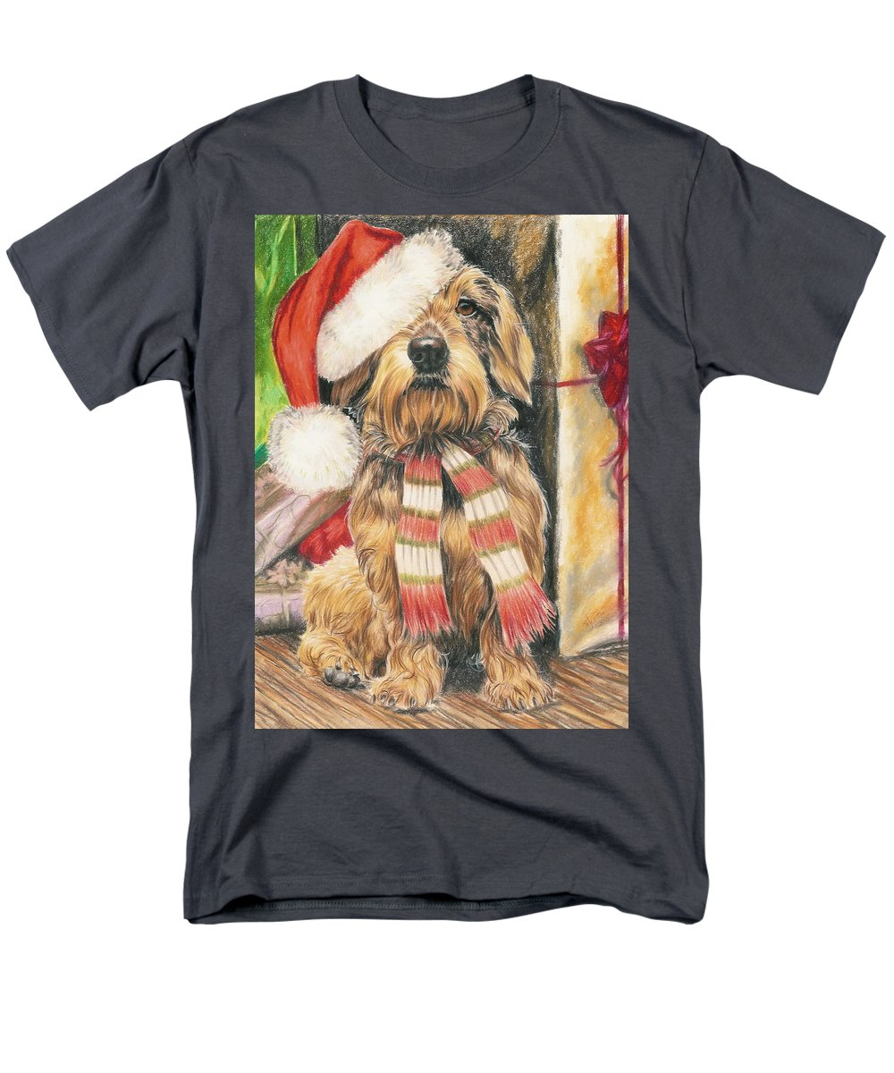 Hound Group Men's T-Shirt (Regular Fit) featuring the drawing Santas Little Yelper by Barbara Keith