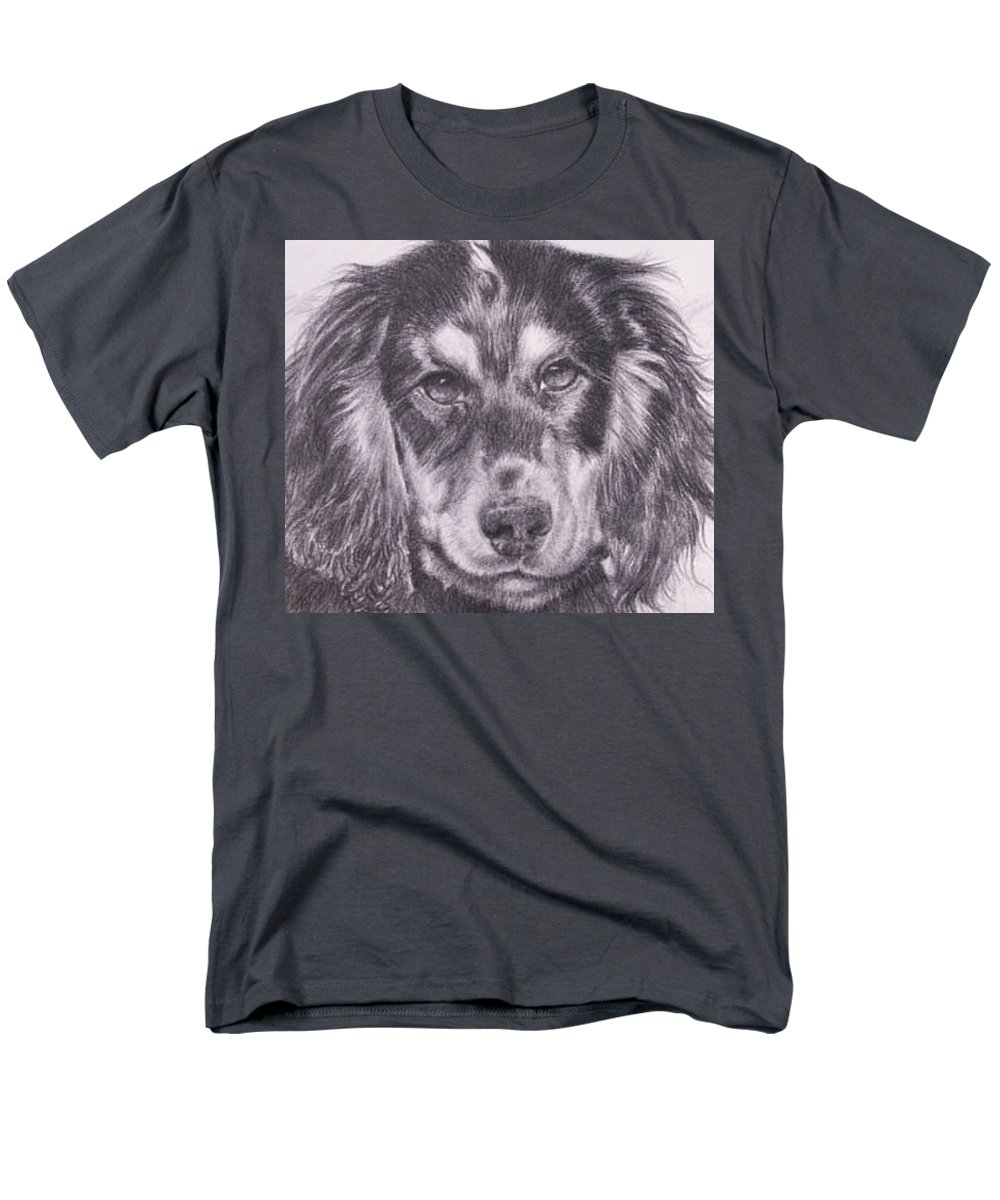Pencil Portrait Men's T-Shirt (Regular Fit) featuring the painting Spaniel Detail by Keran Sunaski Gilmore