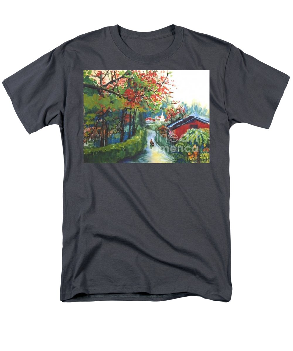 Spring Men's T-Shirt (Regular Fit) featuring the painting Spring In Southern China by Guanyu Shi