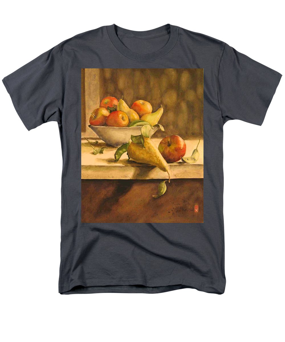 Still-life Men's T-Shirt (Regular Fit) featuring the painting Still-life with Apples and Pears by Piety Choi
