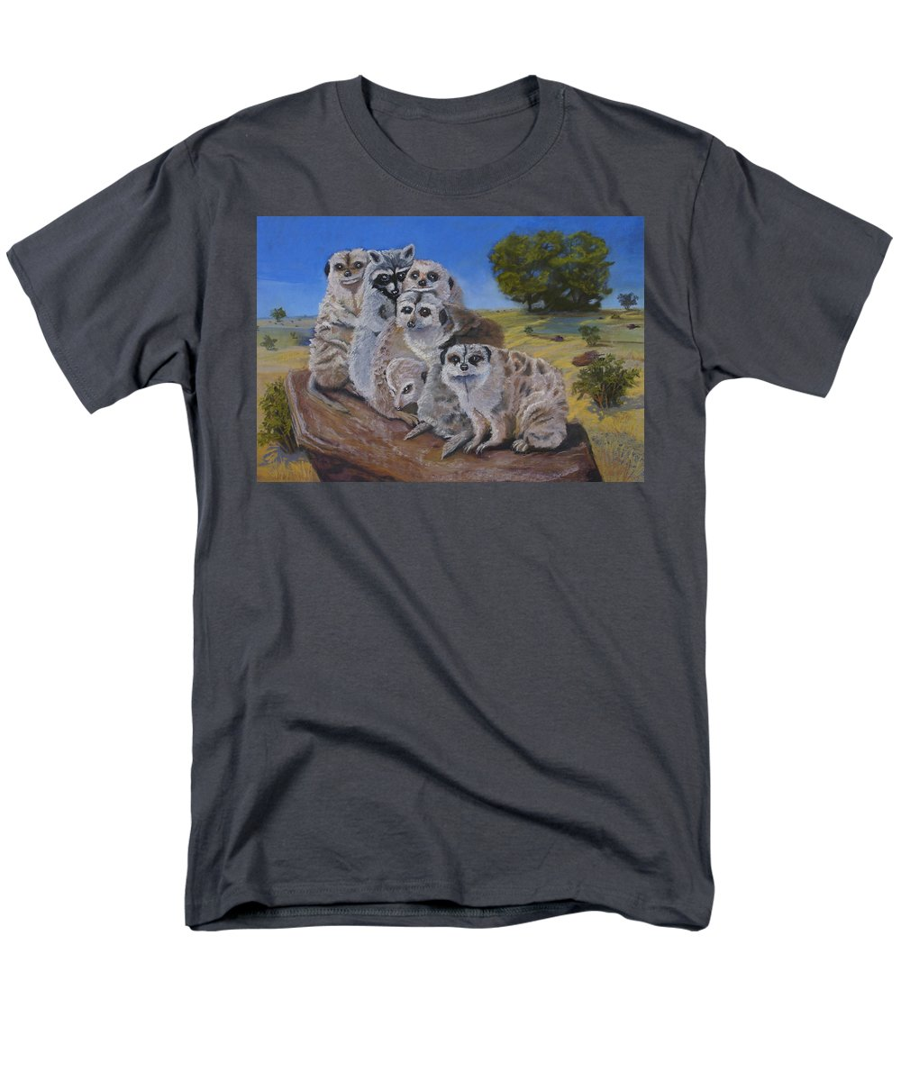 Meer Cat Men's T-Shirt (Regular Fit) featuring the painting Stranger in a Strange Land by Heather Coen