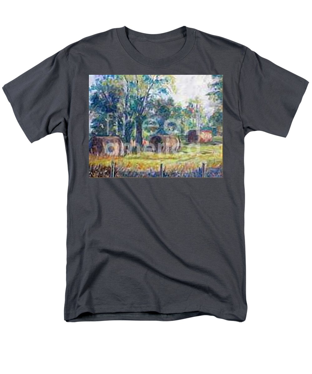 Landscape Men's T-Shirt (Regular Fit) featuring the painting Summer Idyll by Jan Bennicoff