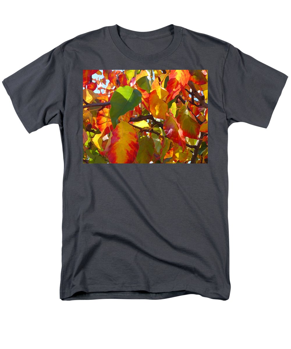 Fall Leaves Men's T-Shirt (Regular Fit) featuring the photograph Sunlit Fall Leaves by Amy Vangsgard