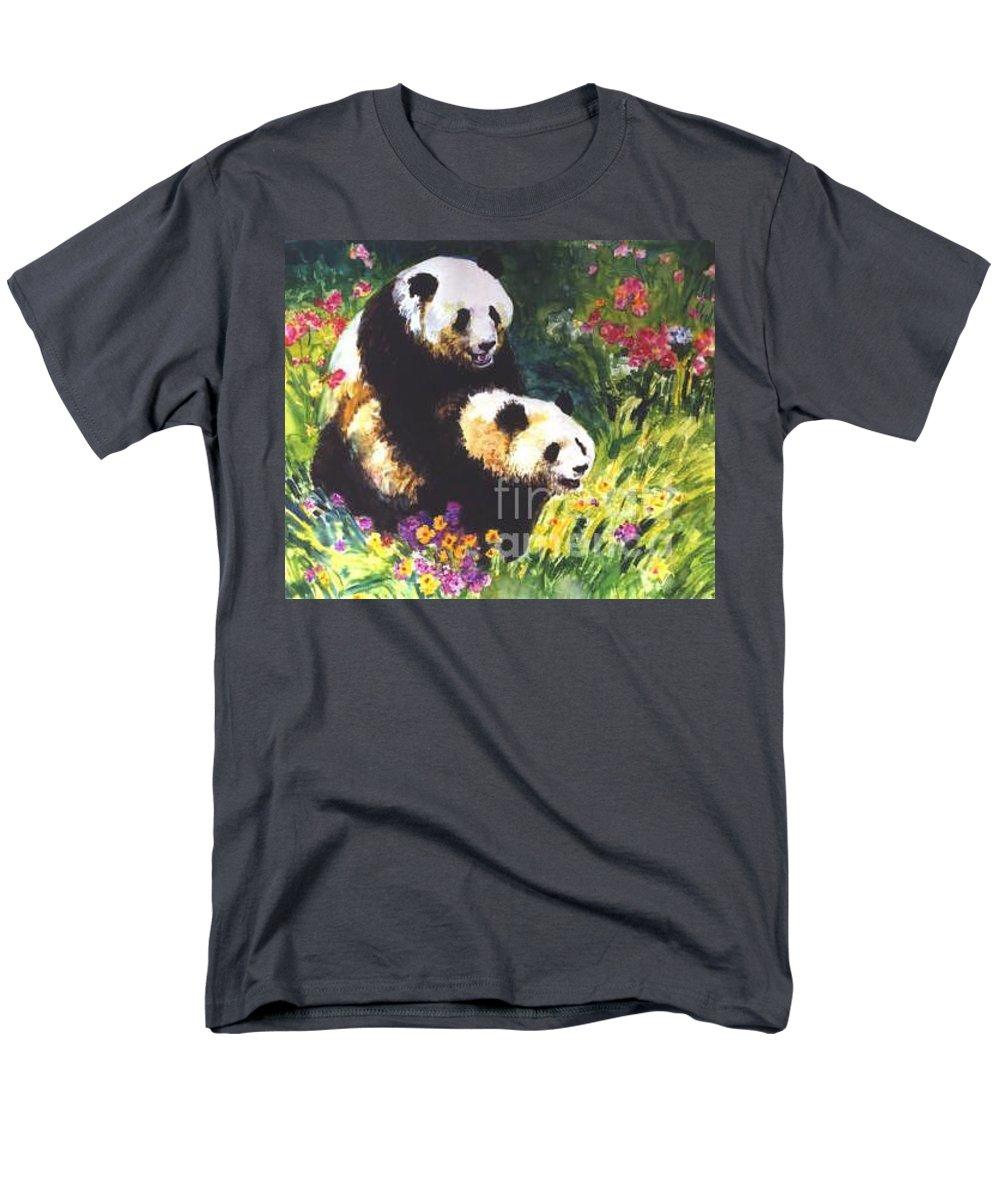 Panda Men's T-Shirt (Regular Fit) featuring the painting Sweet As Honey by Guanyu Shi