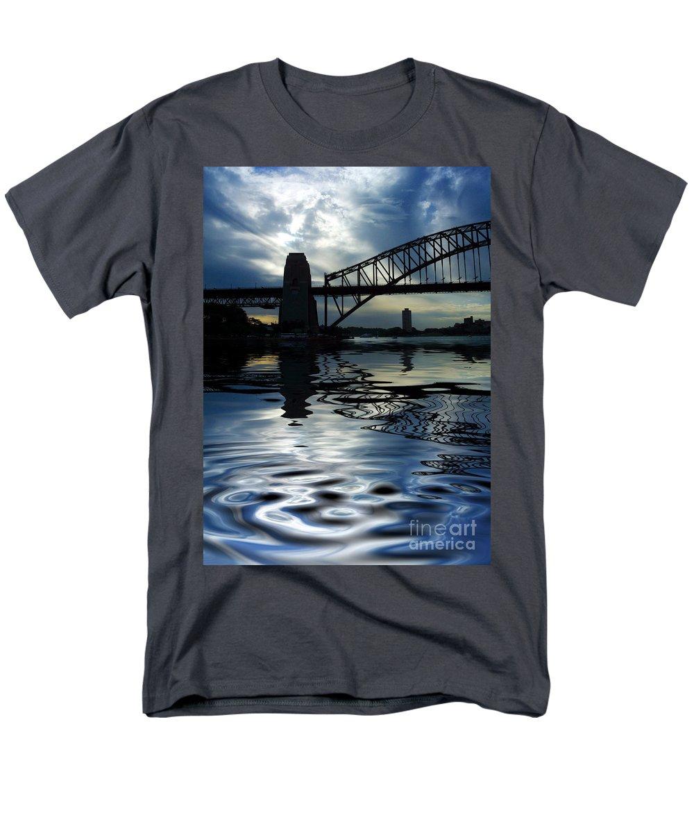 Sydney Harbour Australia Bridge Reflection Men's T-Shirt (Regular Fit) featuring the photograph Sydney Harbour Bridge Reflection by Avalon Fine Art Photography