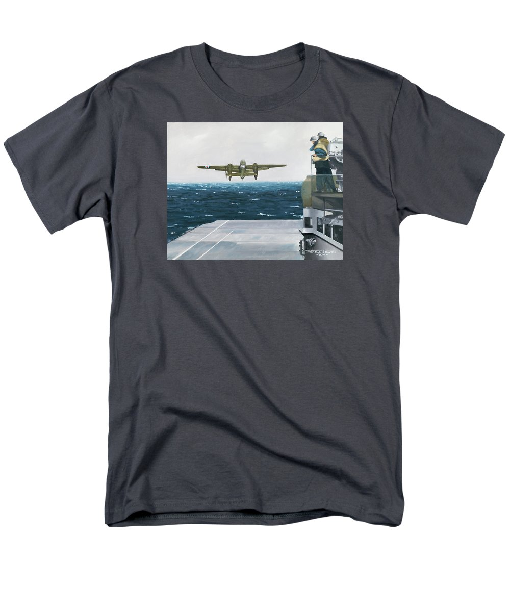 Aviation Men's T-Shirt (Regular Fit) featuring the painting Target Tokyo by Marc Stewart