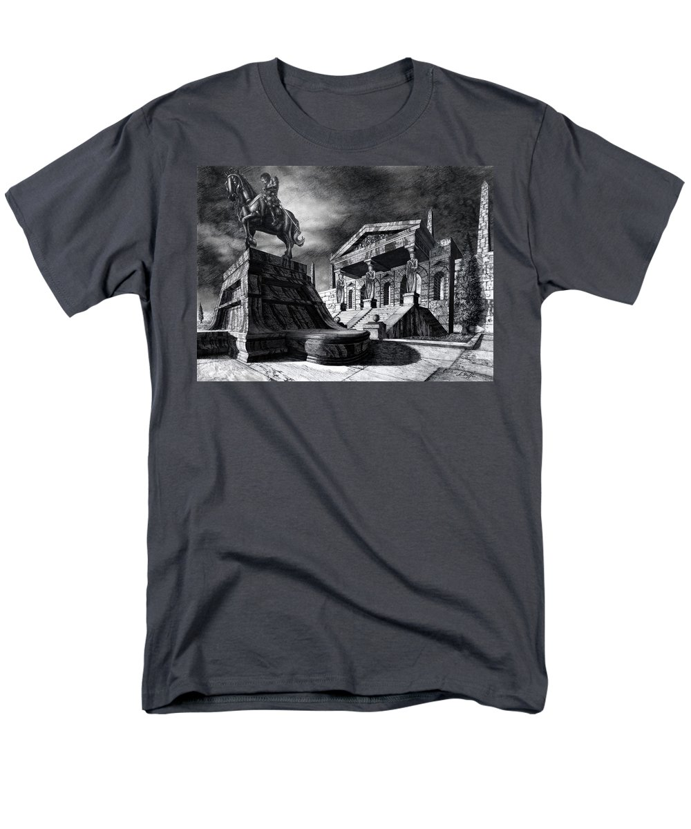 Greek Architecture Men's T-Shirt (Regular Fit) featuring the drawing Temple of Perseus by Curtiss Shaffer