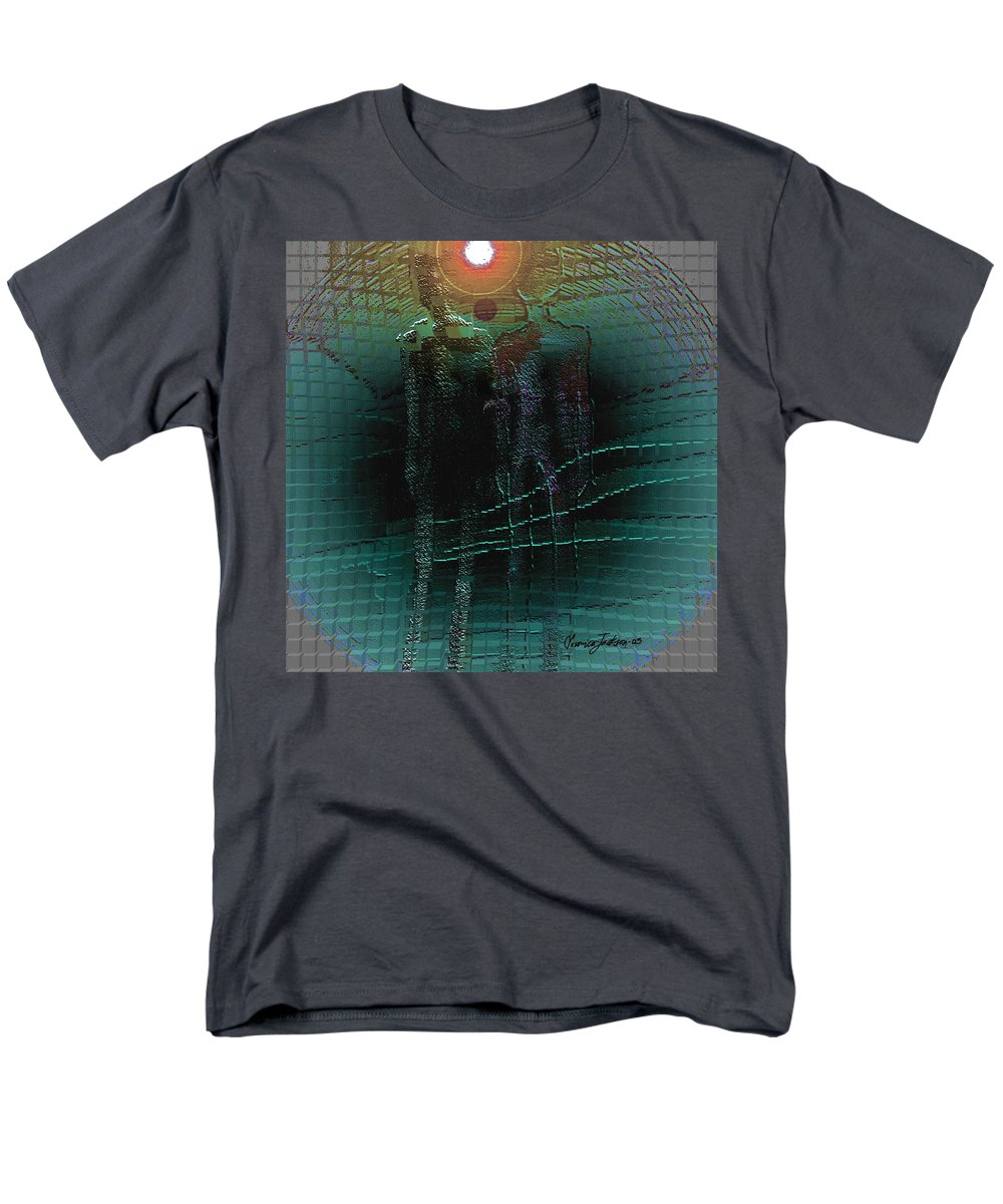 People Alien Arrival Visitors Men's T-Shirt (Regular Fit) featuring the digital art The Arrival by Veronica Jackson