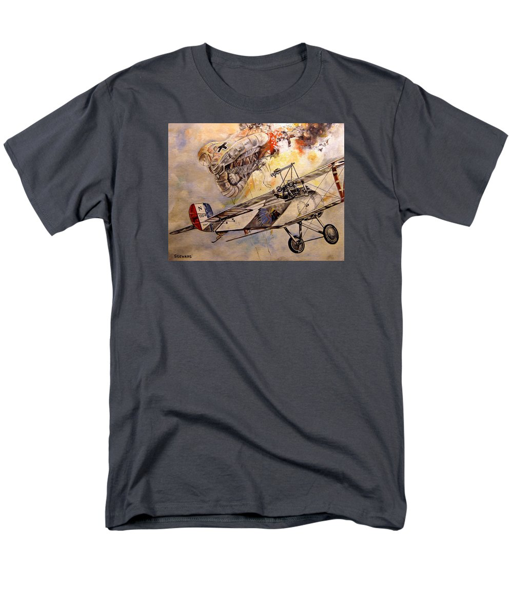 Military Men's T-Shirt (Regular Fit) featuring the painting The Balloon Buster by Marc Stewart