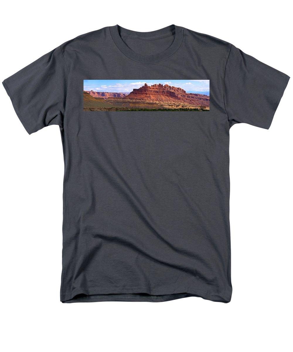 Landscape Utah Men's T-Shirt (Regular Fit) featuring the photograph The Battleship Utah by Heather Coen