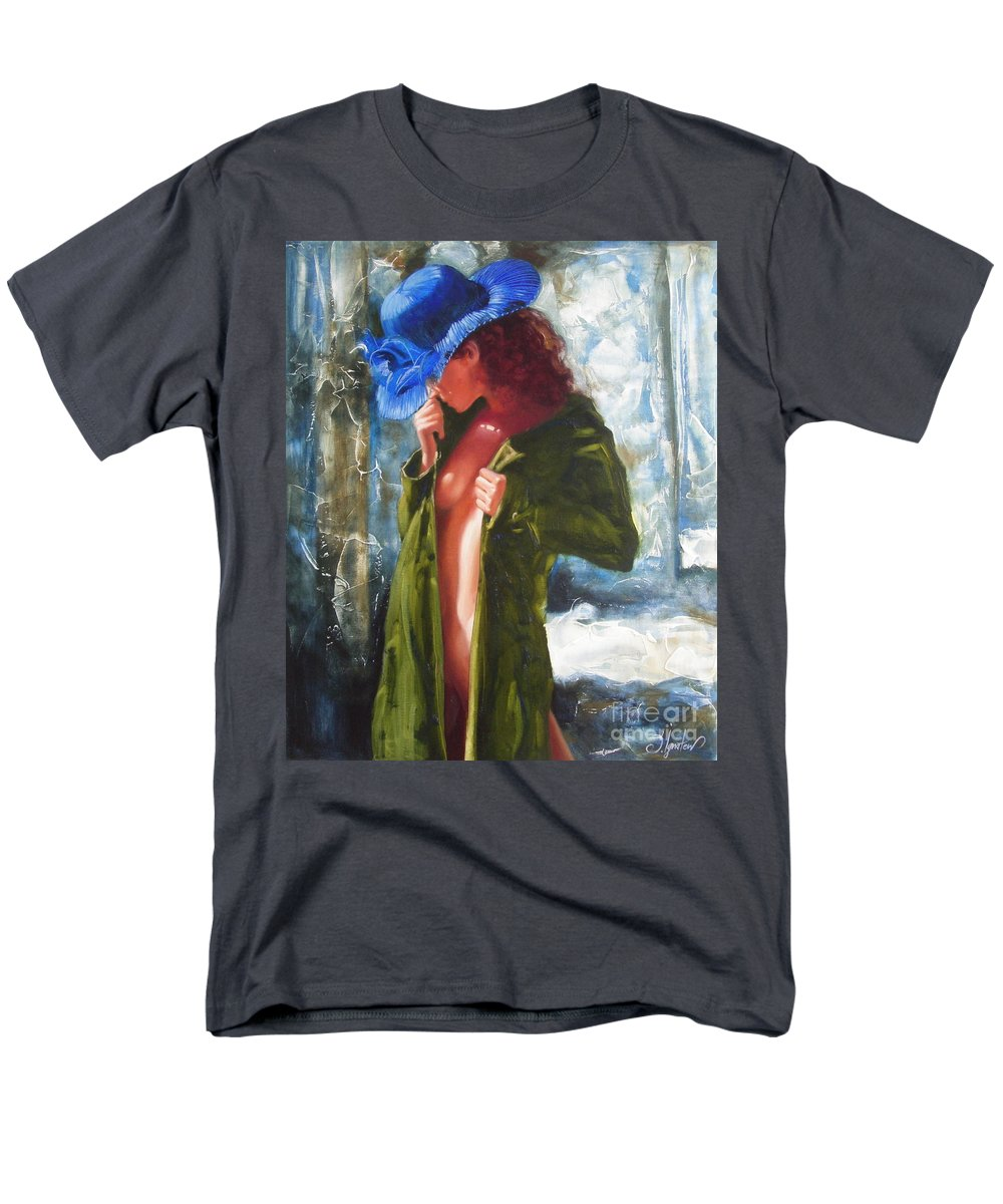 Art Men's T-Shirt (Regular Fit) featuring the painting The Blue Hat by Sergey Ignatenko