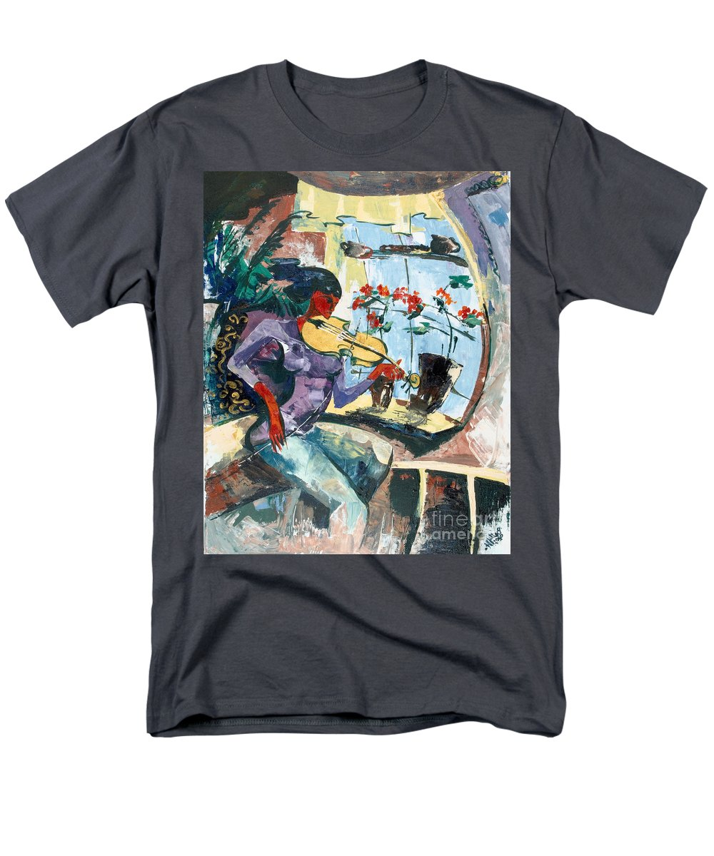 Music Men's T-Shirt (Regular Fit) featuring the painting The Color of Music by Elisabeta Hermann