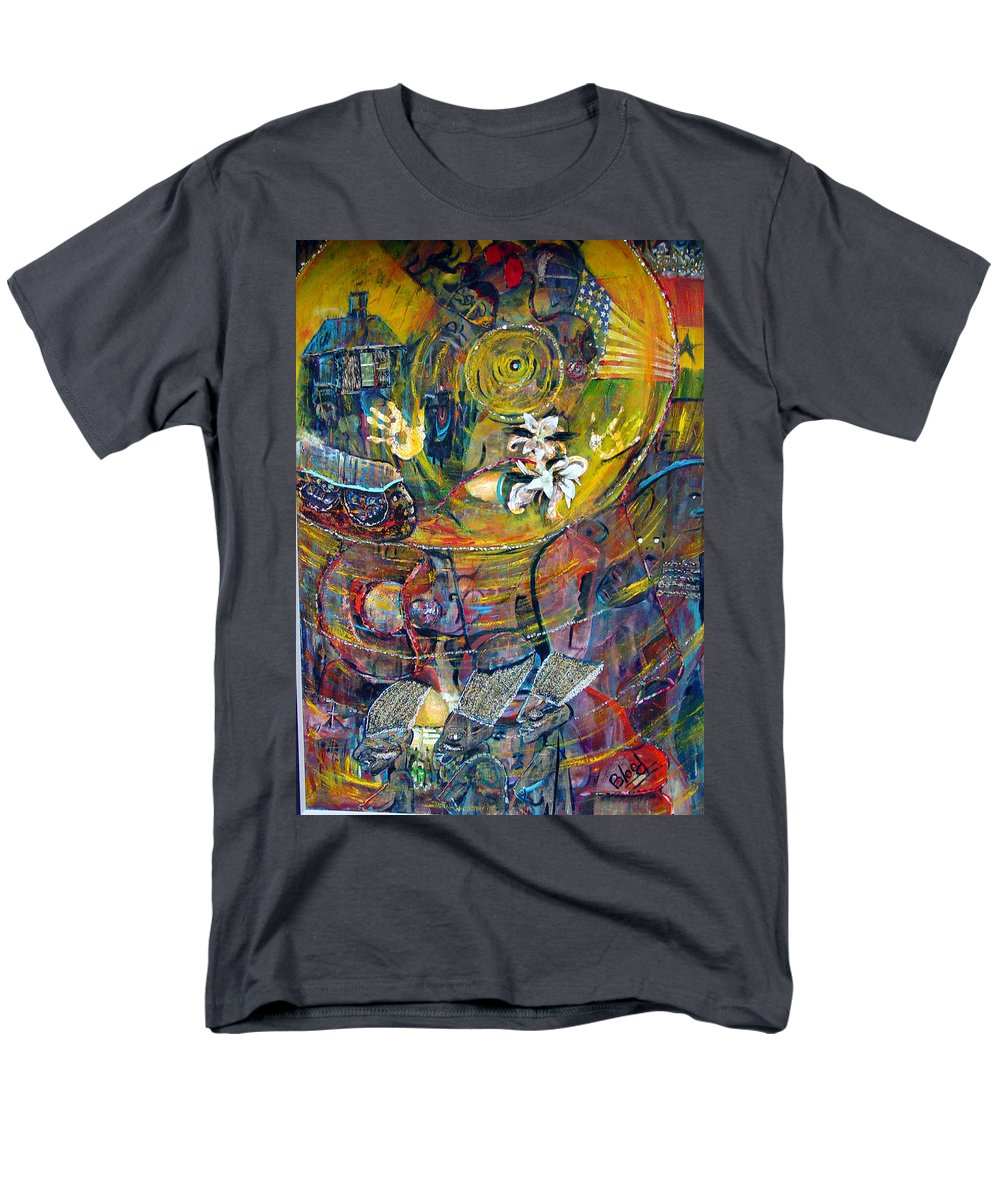 Figures Men's T-Shirt (Regular Fit) featuring the painting The Journey by Peggy Blood