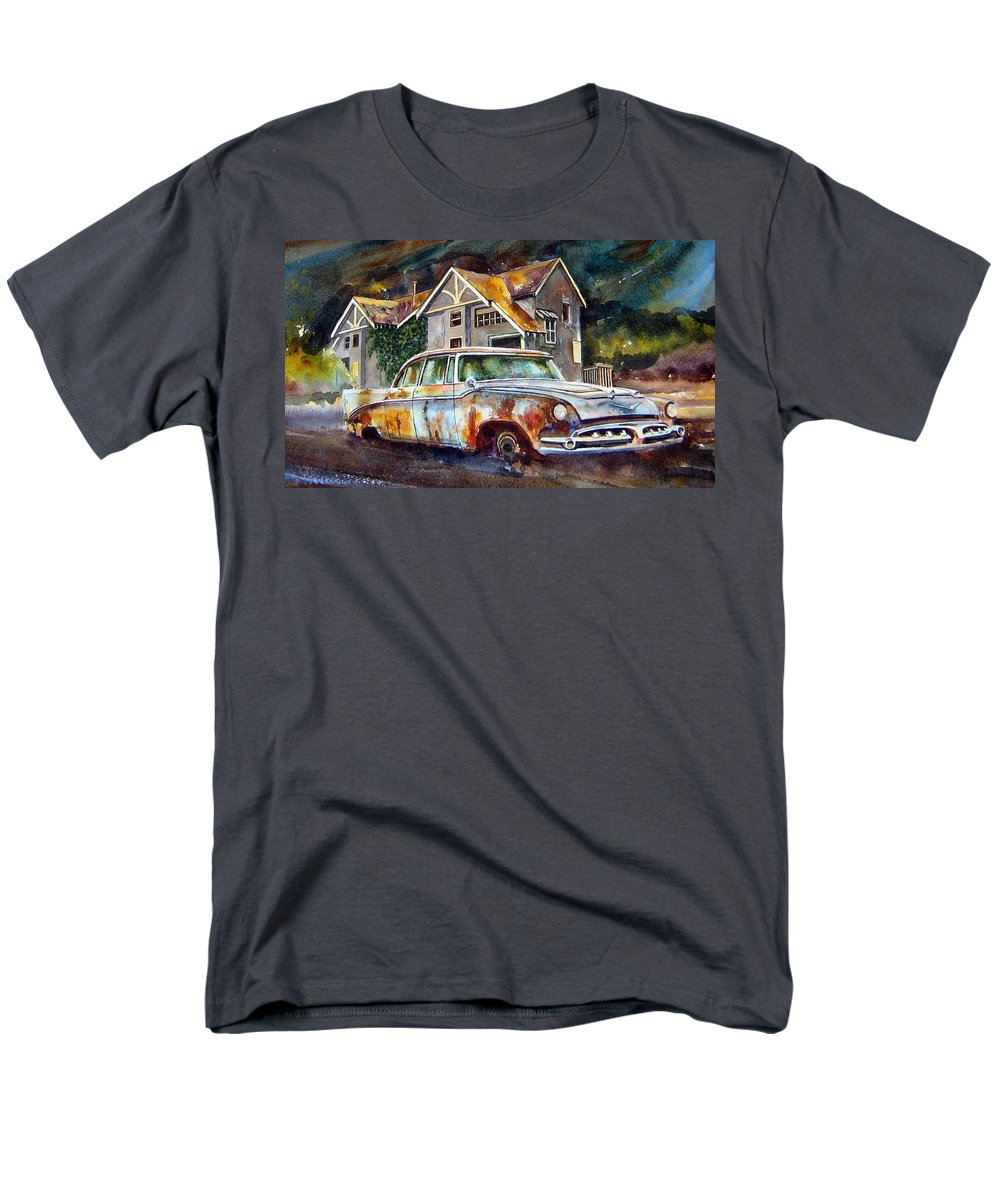 Old Dodoges Men's T-Shirt (Regular Fit) featuring the painting The Lonesome Hotel by Ron Morrison