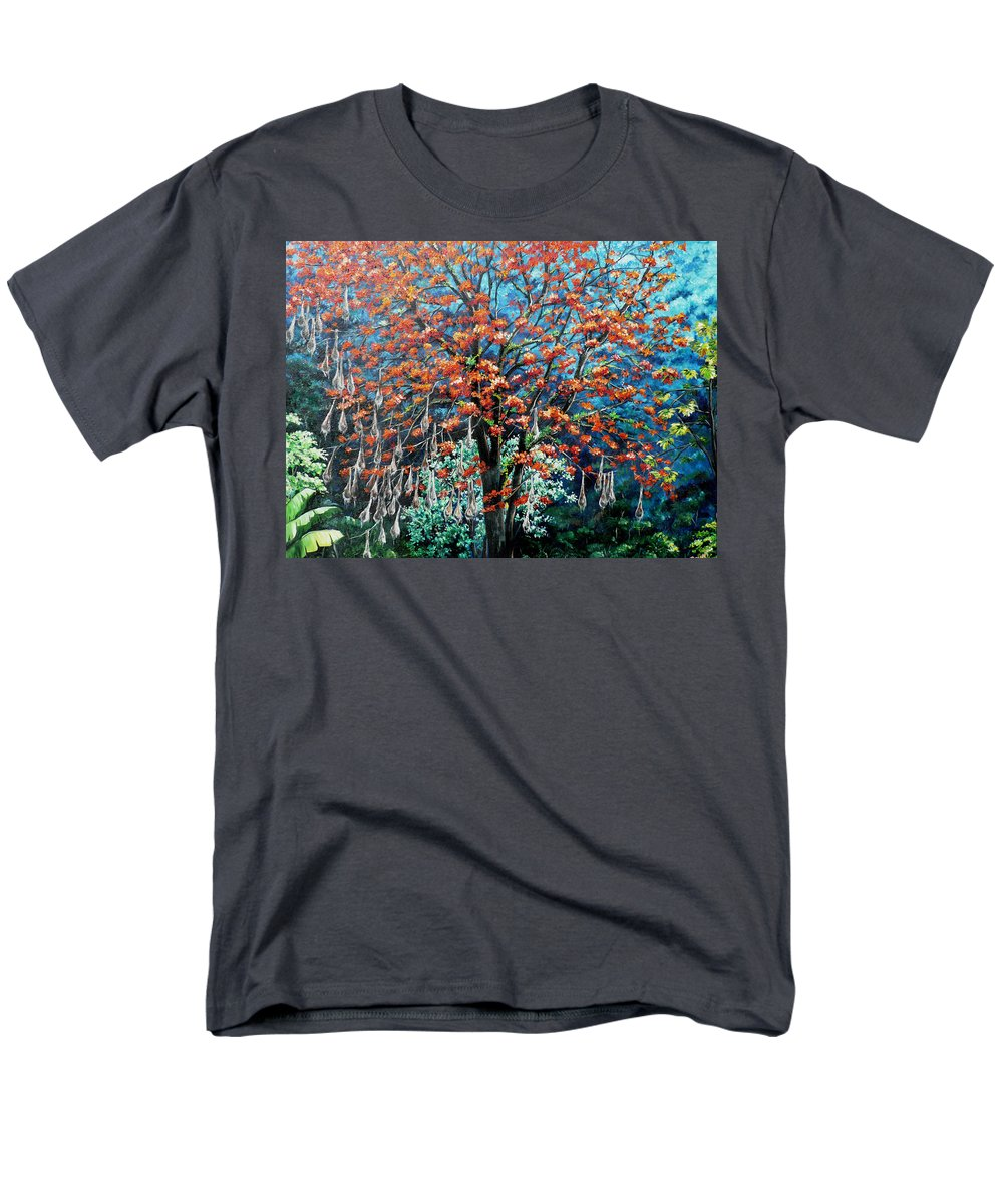 Tree Painting Mountain Painting Floral Painting Caribbean Painting Original Painting Of Immortelle Tree Painting  With Nesting Corn Oropendula Birds Painting In Northern Mountains Of Trinidad And Tobago Painting Men's T-Shirt (Regular Fit) featuring the painting The Mighty Immortelle by Karin Dawn Kelshall- Best