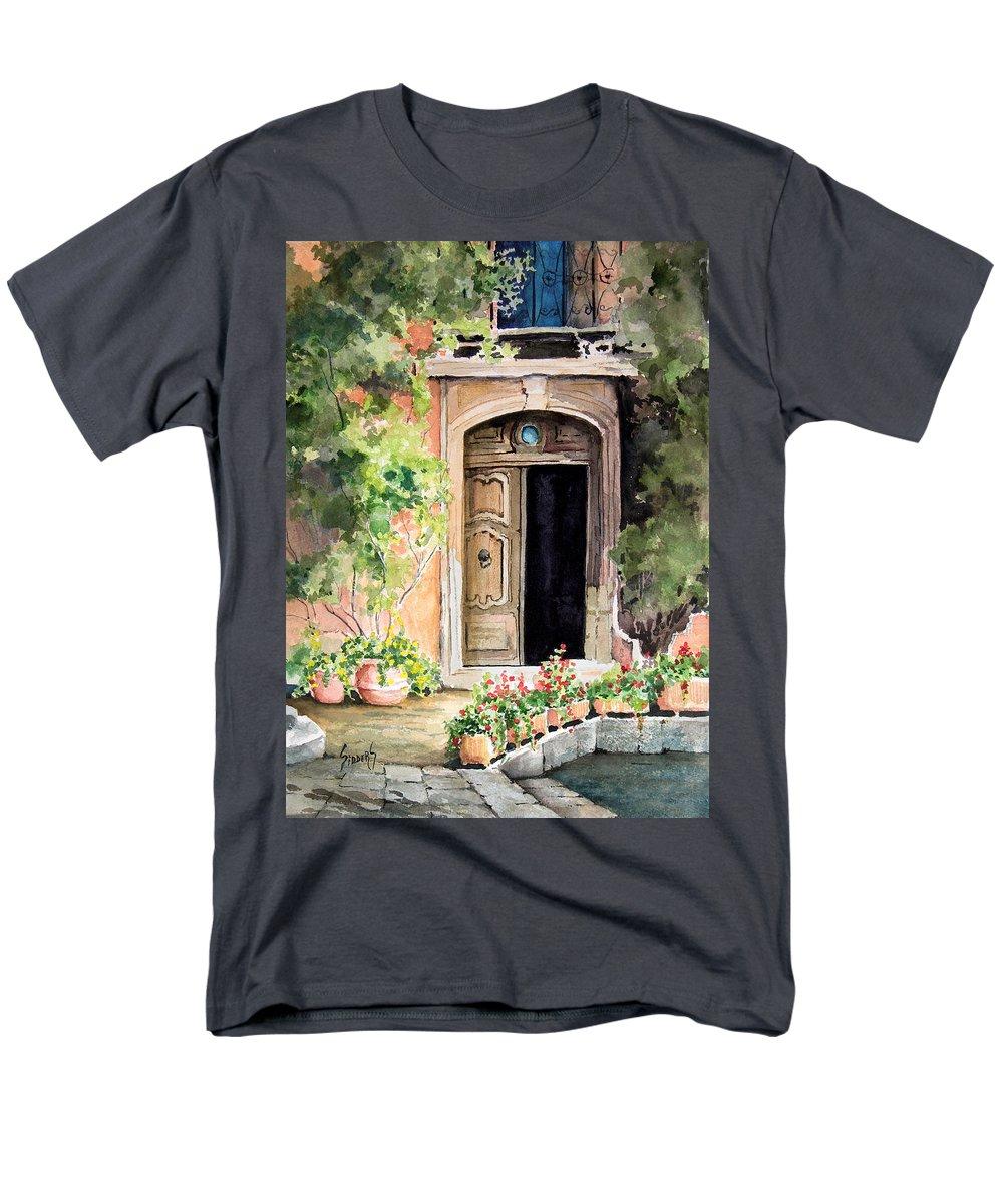 Door Men's T-Shirt (Regular Fit) featuring the painting The Open Door by Sam Sidders