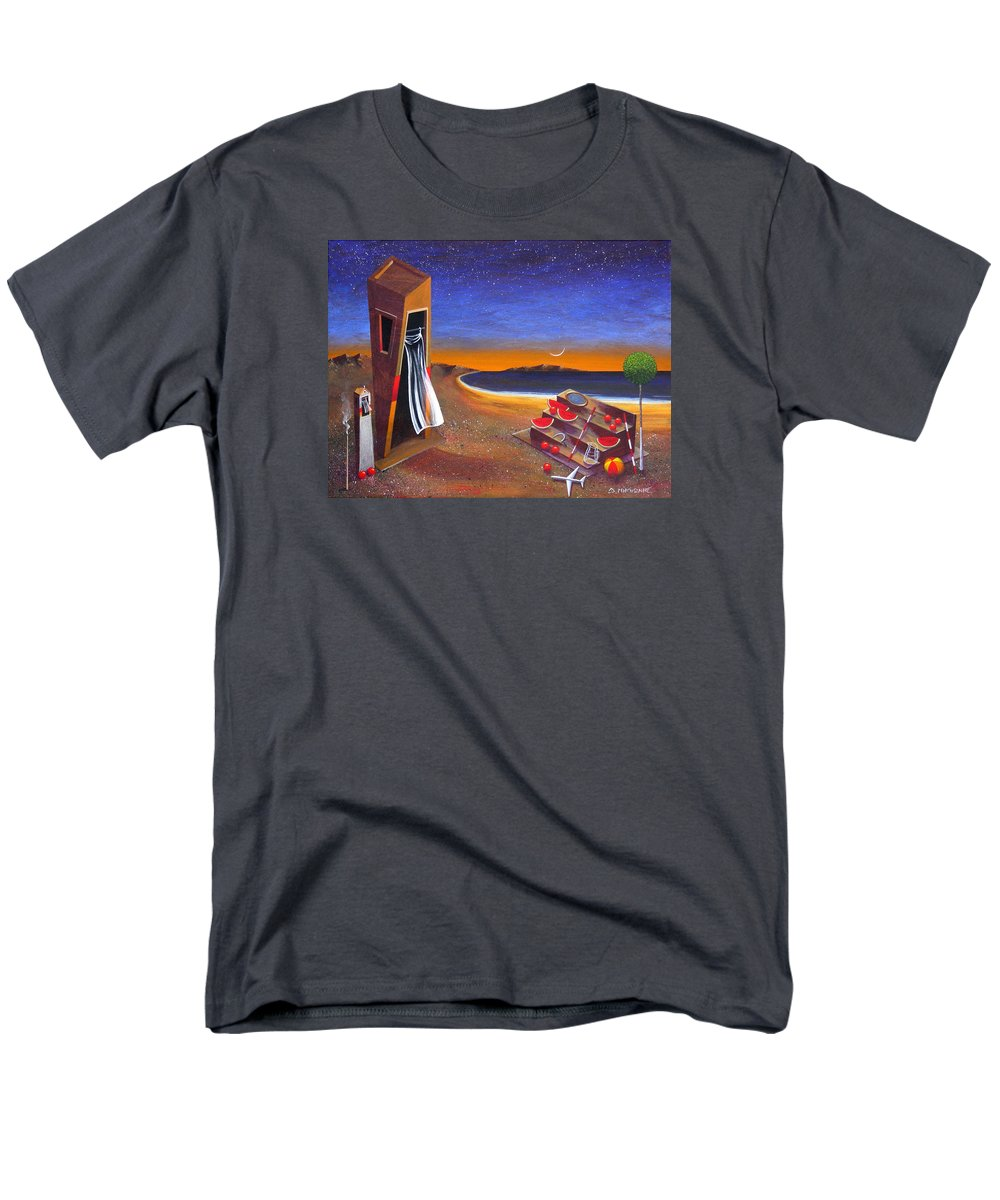 Landscape Men's T-Shirt (Regular Fit) featuring the painting The School Of Metaphysical Thought by Dimitris Milionis