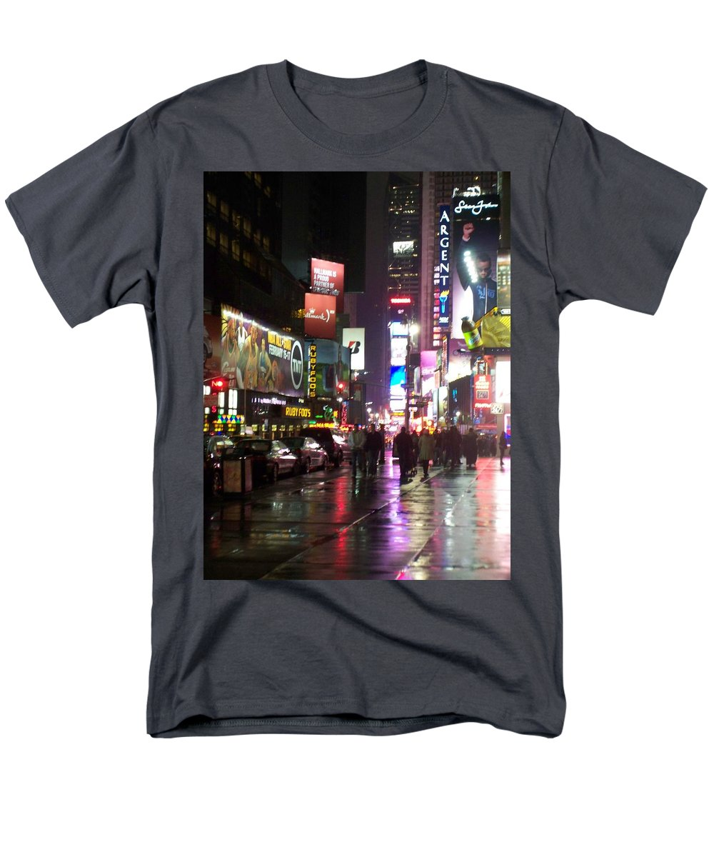Times Square Men's T-Shirt (Regular Fit) featuring the photograph Times Square in the rain 1 by Anita Burgermeister