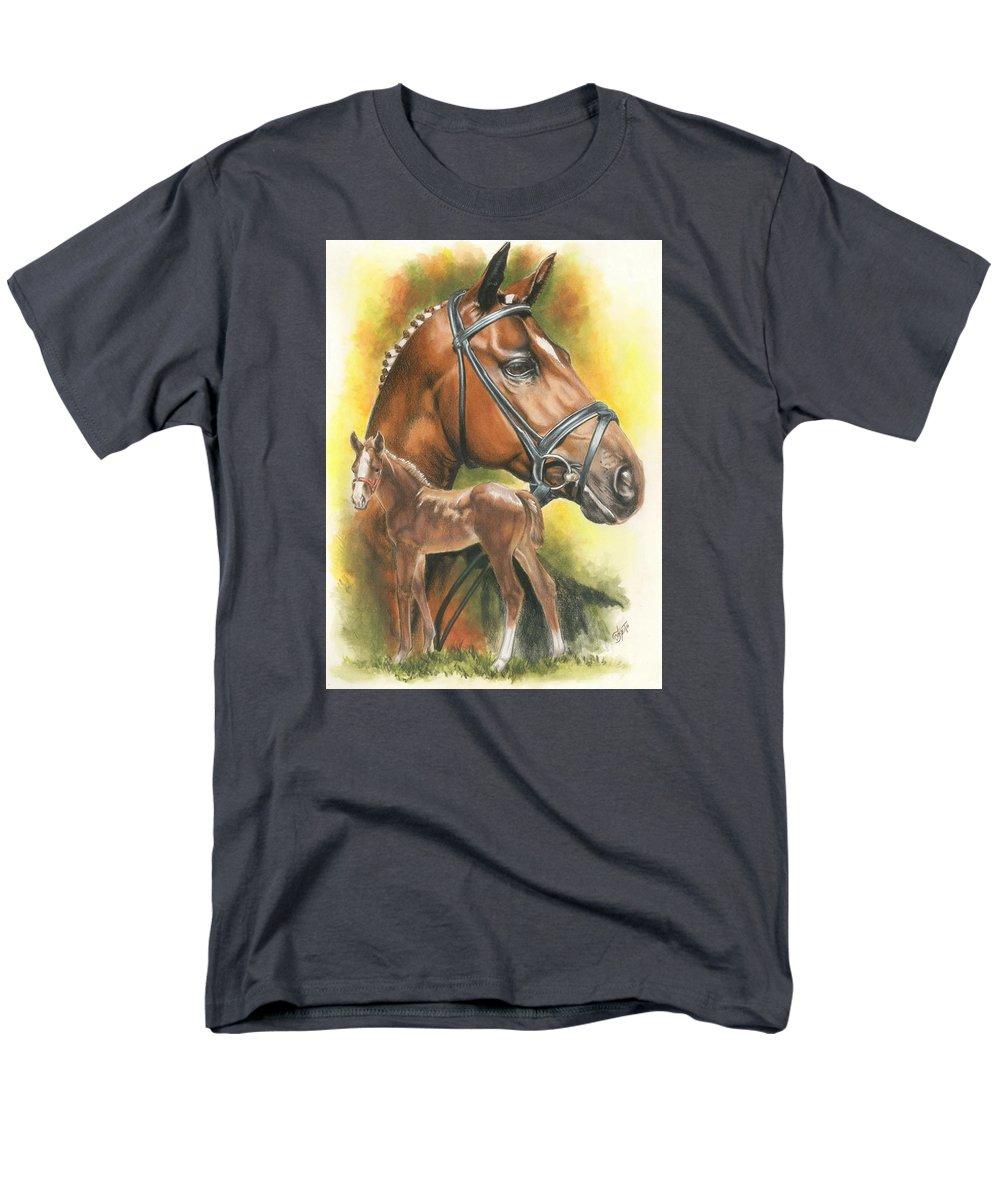 Jumper Hunter Men's T-Shirt (Regular Fit) featuring the mixed media Trakehner by Barbara Keith