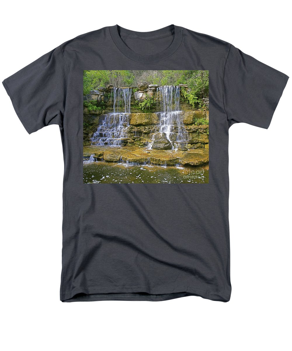 Waterfalls Men's T-Shirt (Regular Fit) featuring the photograph Twin falls by Robert Pearson