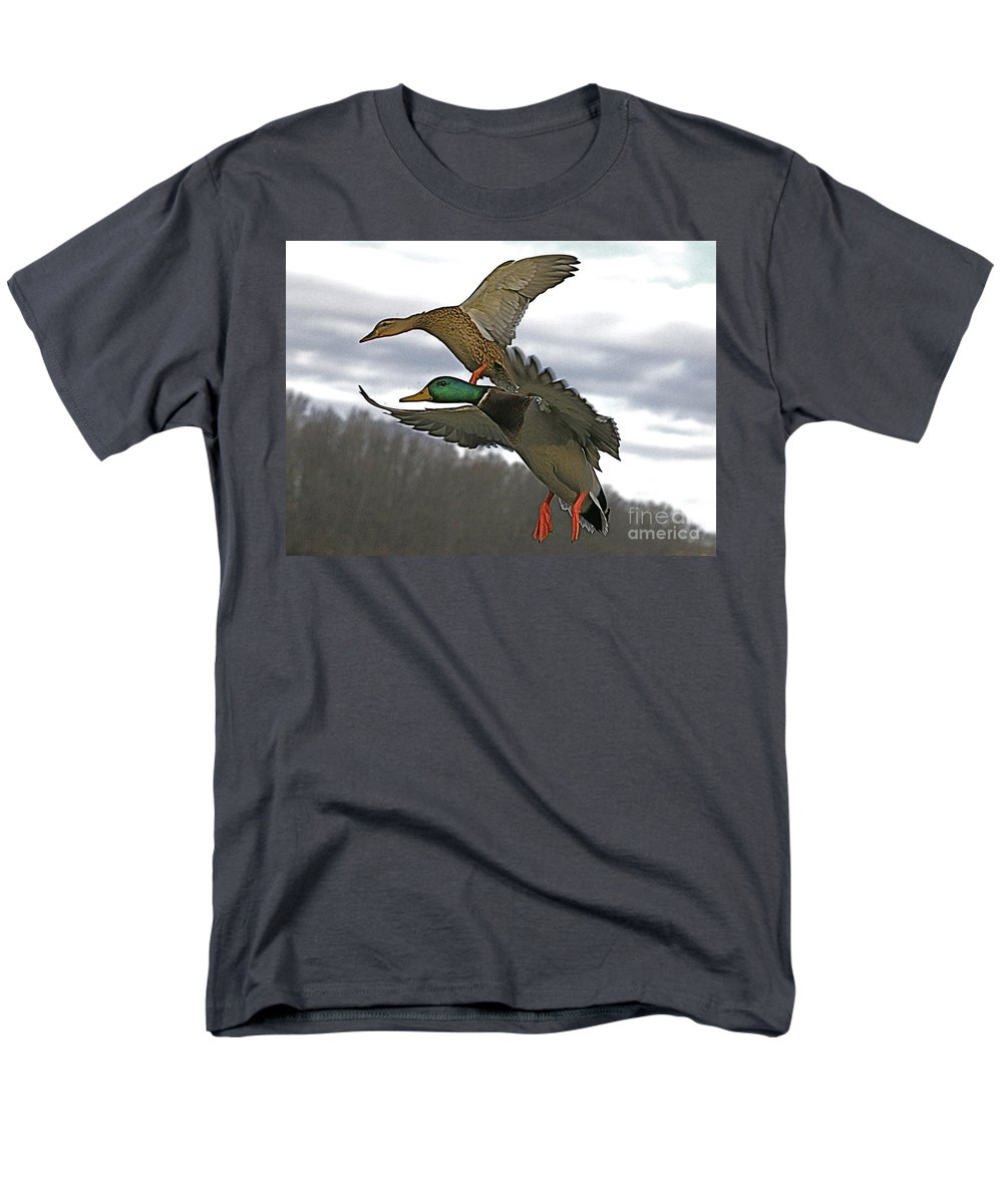 Duck Men's T-Shirt (Regular Fit) featuring the photograph Two land by Robert Pearson