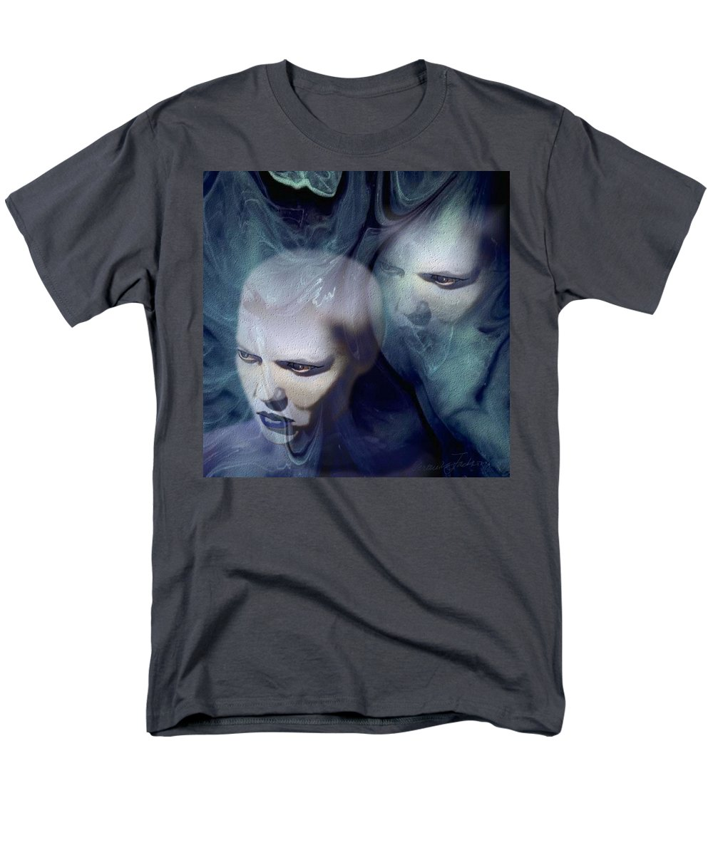 Dream Afterlife Experience Blue Smoke Men's T-Shirt (Regular Fit) featuring the digital art Untitled by Veronica Jackson