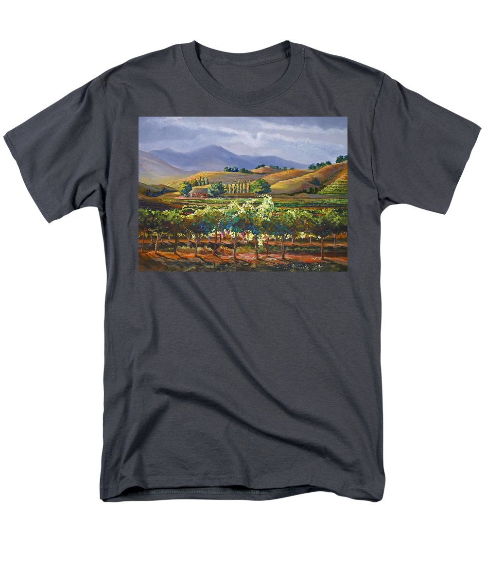 Vineyard Men's T-Shirt (Regular Fit) featuring the painting Vineyard in California by Heather Coen