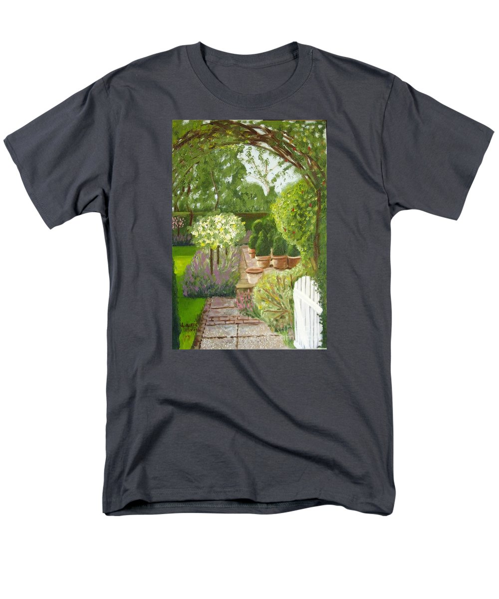 Garden Men's T-Shirt (Regular Fit) featuring the painting Walk with Me by Laurie Morgan